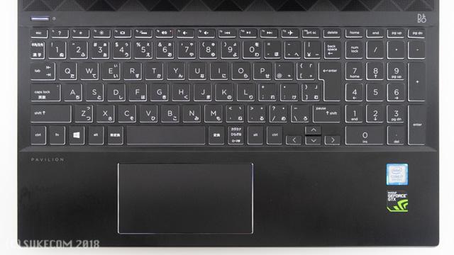 HP Pavilion Gaming 15のキーボード