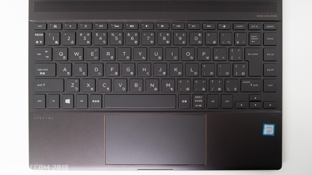 HP Spectre x360 Convertible 13のキーボード