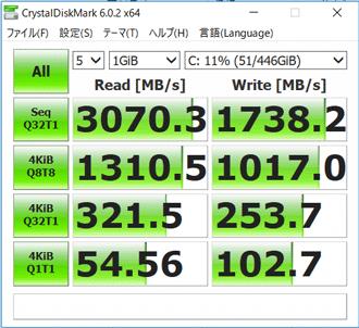 NEXTGEAR-NOTE i5330のSSD転送速度