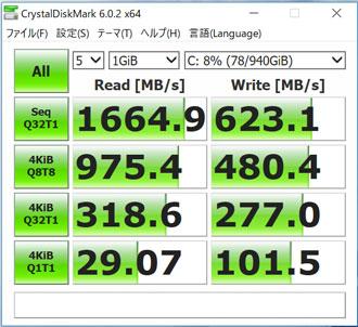 HP Spectre x360 Convertible 13のストレージ転送速度
