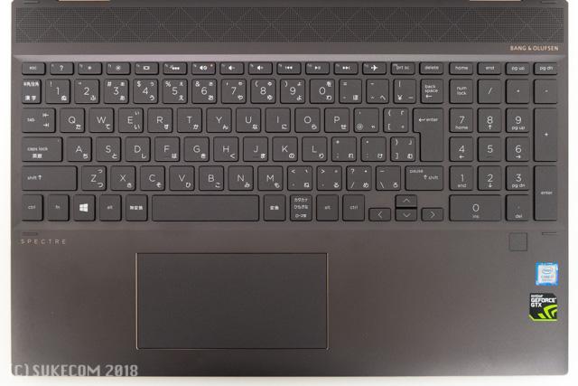 HP Spectre x360 15のキーボード