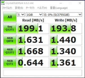 MASTERPIECE i1640GA1-SPのHDD転送速度
