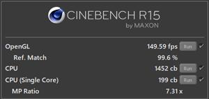 NEXTGEAR i690PA3-SPのCINE BENCH結果