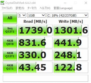 NEXTGEAR i690PA3-SPのSSD転送速度
