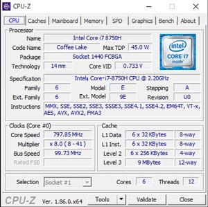 NEXTGEAR-NOTE i7940GA1のCPU-Z