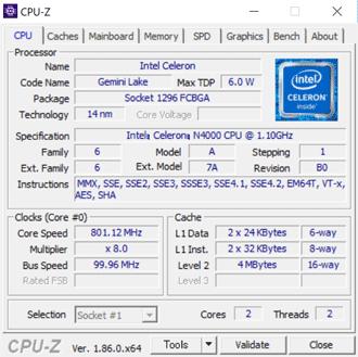 HP 14s-cf0000のCPU-Z