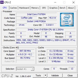 DAIV-NG5510H1-M2SH5のCPU-Z