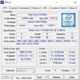 DAIV5800のCPU-Z