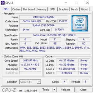 ThinkPad X280のCPU-Z