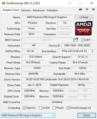 HP ENVY x360 15のGPU情報